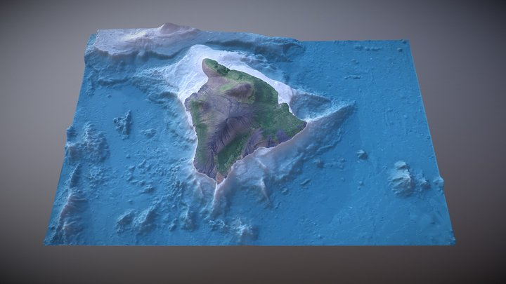 Hawai'i with topography & bathymetry 3D Model