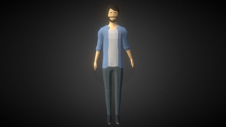 Low-poly Man Casual Clothes 2 3D Model