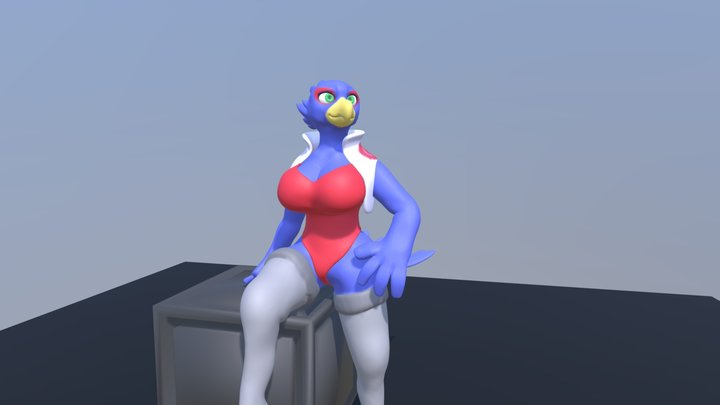 Female Falco Sculpture 3D Model