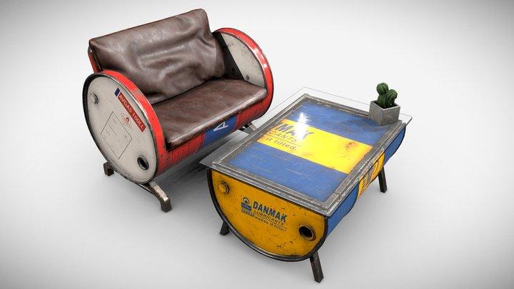 Barrel Furniture Set 3D Model