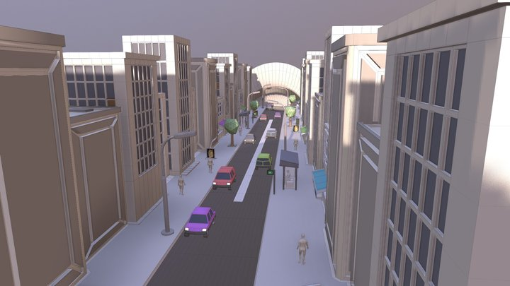 Lowpoly Street Animation 3D Model
