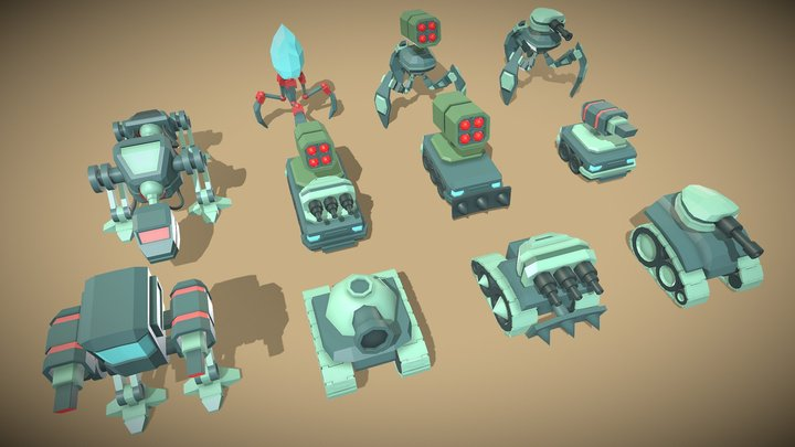 Mechs, tanks, vehicles and tripods 3D Model