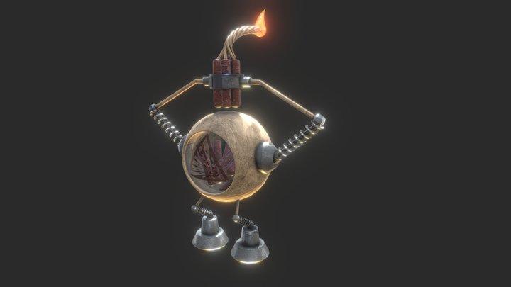 Mr. FreeHug - Wooden mechanic character 02 3D Model