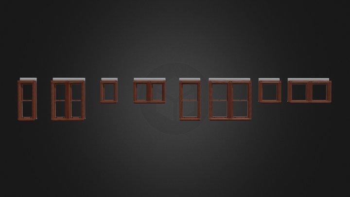 Low Poly Antique Windows 3D Model