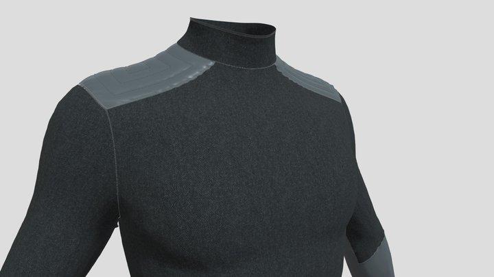 Long Sleeve Sci-fi Wool Shirt - Grey 3D Model