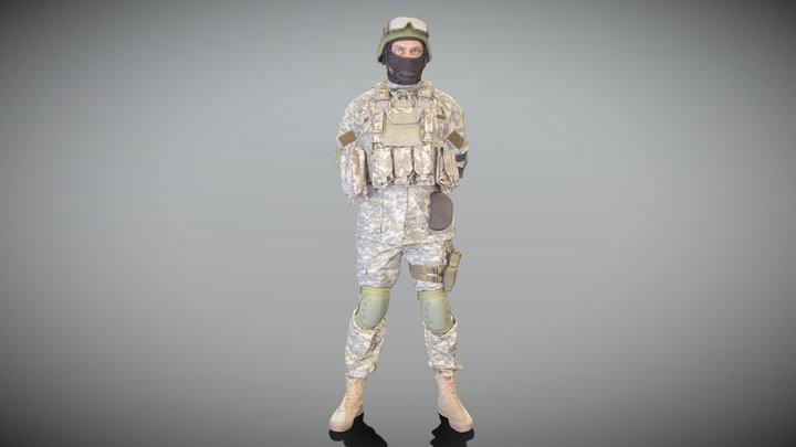 Military man in helmet and balaclava 103 3D Model