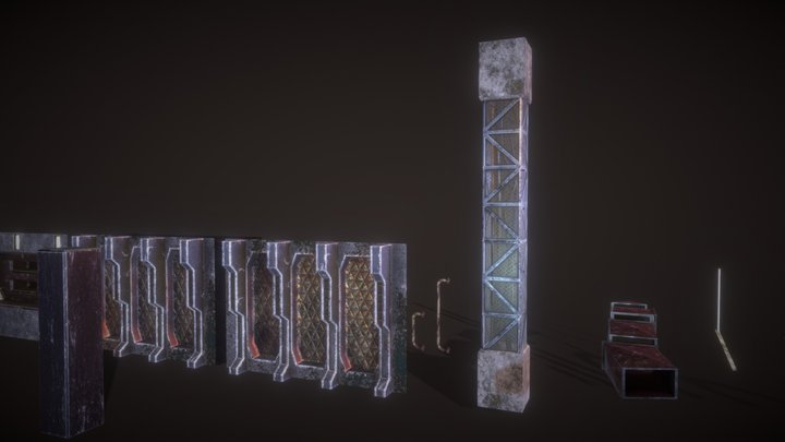 Asset Pack 1 : Asteroid Mine parts 3D Model