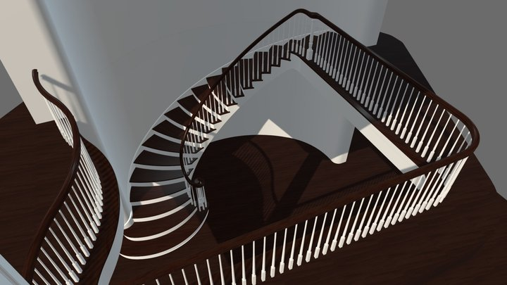 Ellipse Staircase with ascending Volute 3D Model