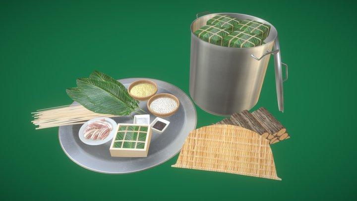 Traditional Vietnamese Rice Cake (Bánh chưng) 3D Model