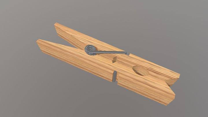 Clothes Peg - wooden - oak old 3D Model