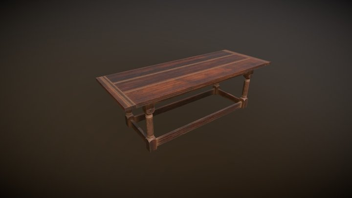 Wooden table. 3D Model