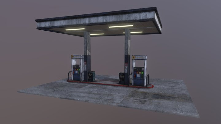 Gas Station Canopy with Fuel Pumps 3D Model