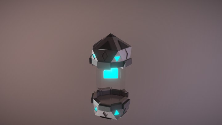 Space capsule with energy cube 3D 3D Model