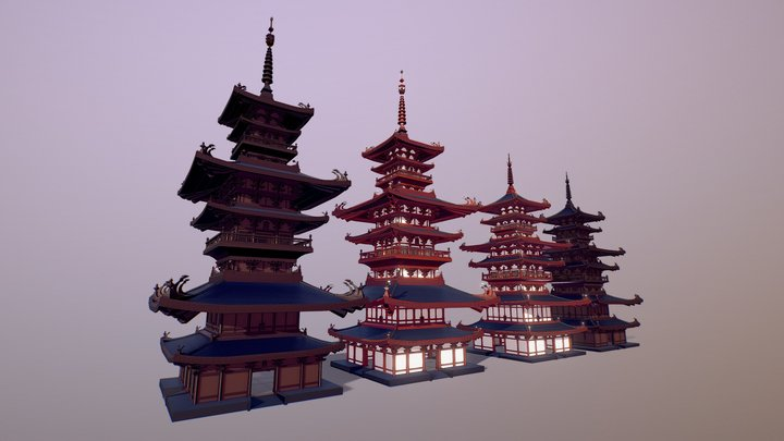 Pagoda (Low Poly) 3D Model