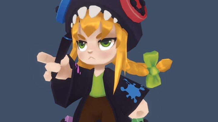 Gamer Artist Girl 3D Model