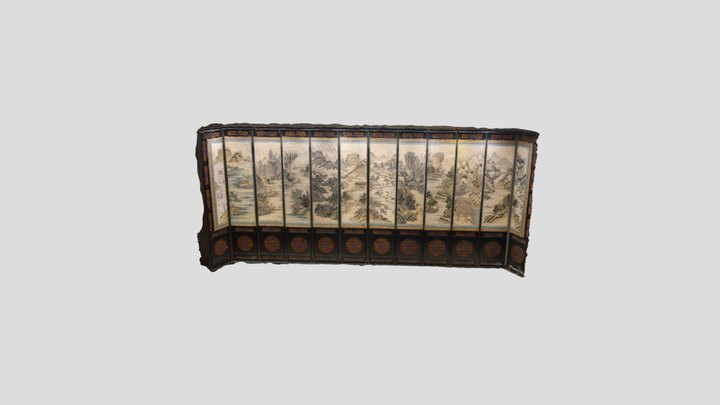Chinese Painted Screen 3D Model