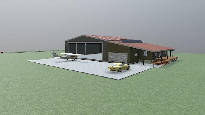 Lifestyle Aircraft Hangar & Accommodation Unit 3D Model