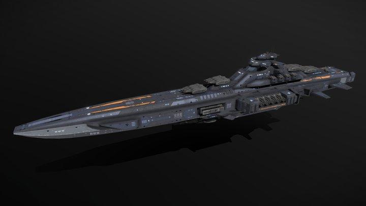 Scifi Battlecruiser Kyushu 3D Model