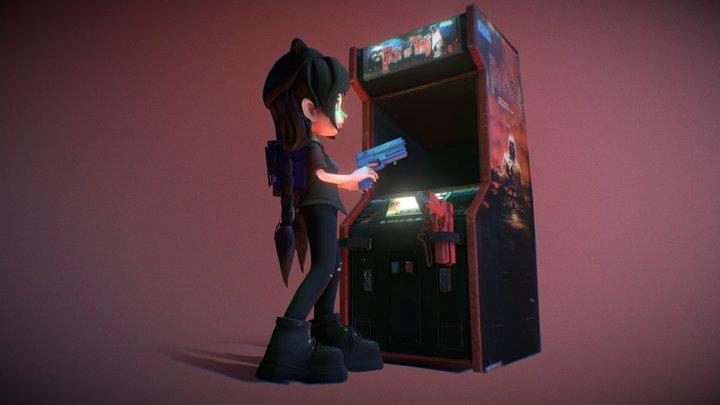 Girl vs Arcade game 3D Model