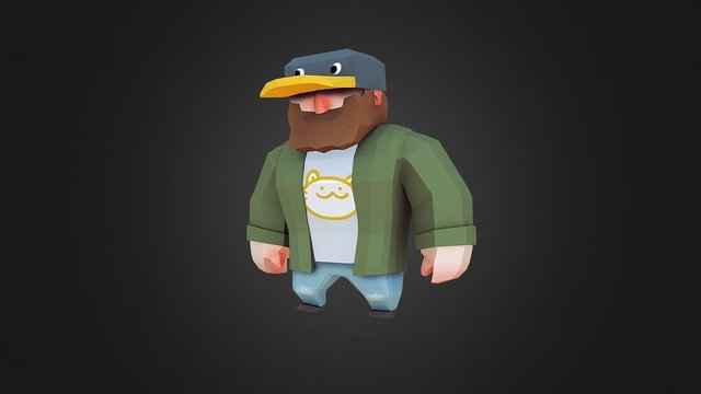 Low-poly Duck Hat Guy 3D Model