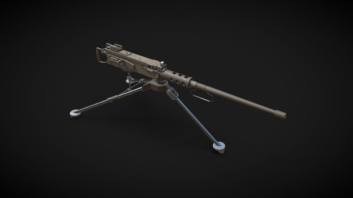 M2 Browning .50 Machine Gun V2 3D Model