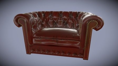 Chesterfield Sofa Low Poly Game Version 3D Model