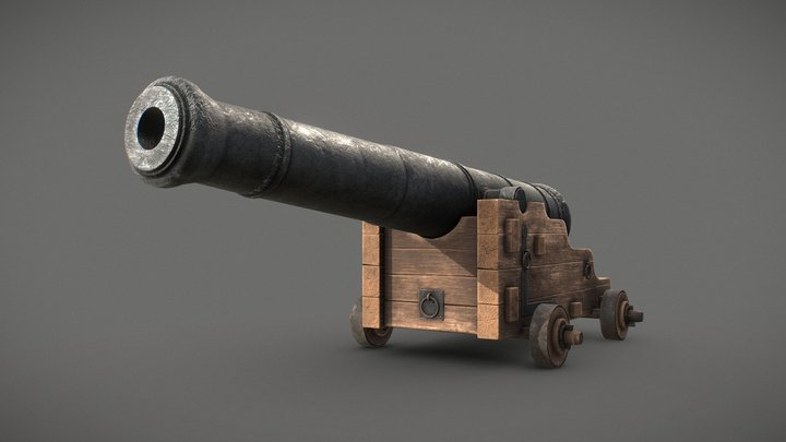 Old Naval Cannon - Low Poly 3D Model