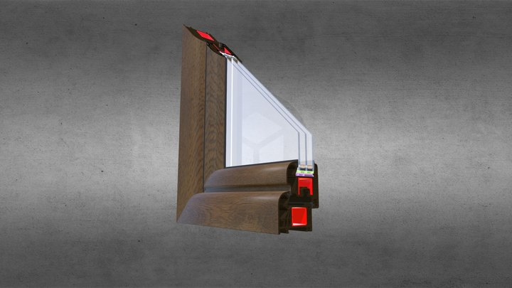 Optitherm półzlicowany - pakiet 40mm -  orzech 3D Model