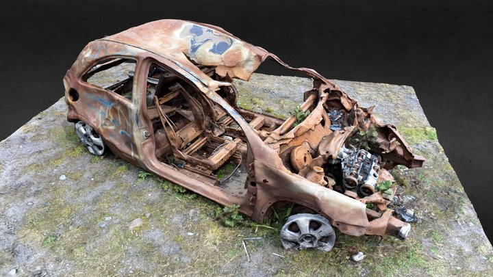 Burnt out car, Vauhall Corsa? 3D Model