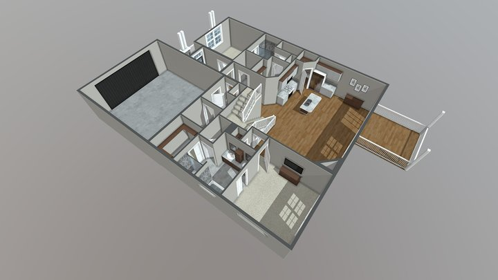 American Home - 3D Floor Plan 3D Model