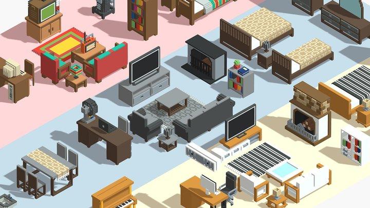 Voxel Furniture Pack (99 Items) 3D Model