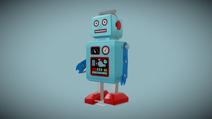 Tin Toy Robot 3D Model