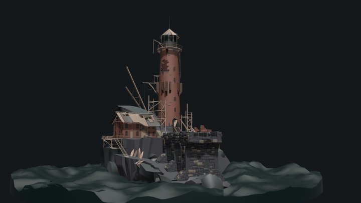 Abandoned lighthouse_Detailed draft 3D Model