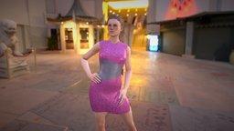 Pink Evening Dress 3D Model