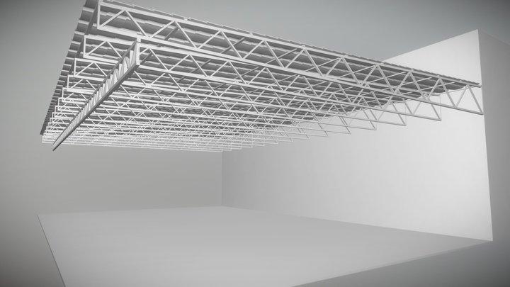 Garage roof metal frame trusses and tiles 3D Model