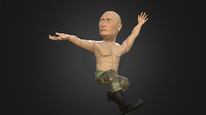 Putin caricature dancing Russian dance 3D Model