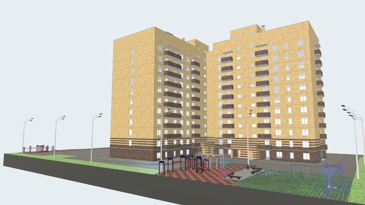 Жилое 11 этажное здание с офисными помещениями. 3D Model