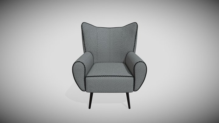 Armchair with White and Black Stick Foot 3D Model