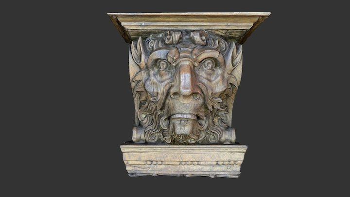 Wooden head from above a fireplace (4) 3D Model