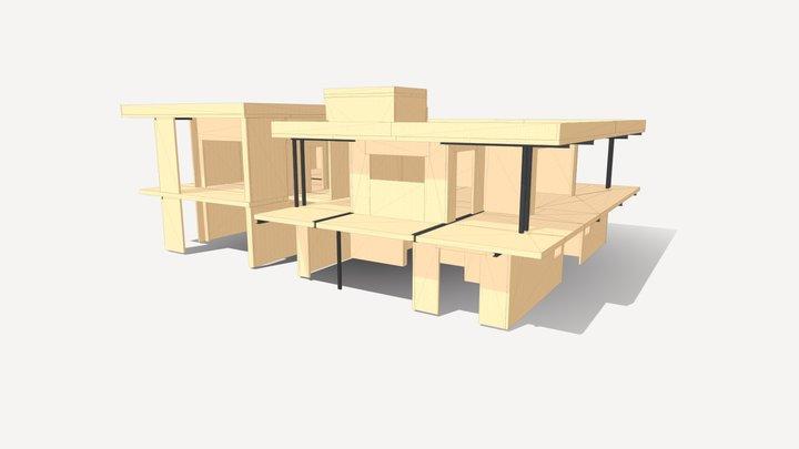 Palazzina residenziale di 4 unità in legno xlam 3D Model