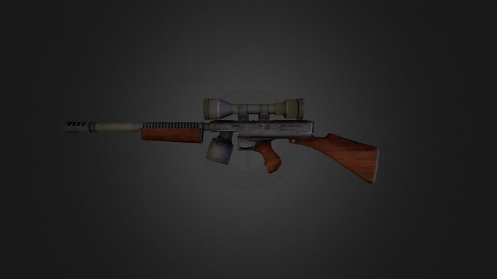 Low poly rifle 3D Model