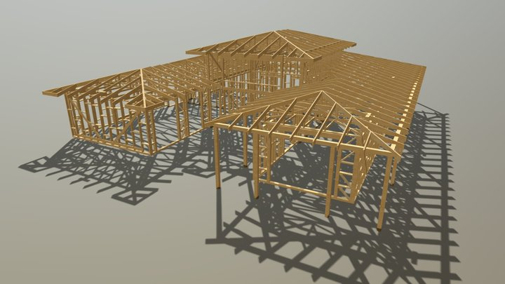 Timber Truss Roof Structure And Frame 3D Model