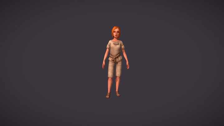 Girl with clothes. Worker set 3D Model