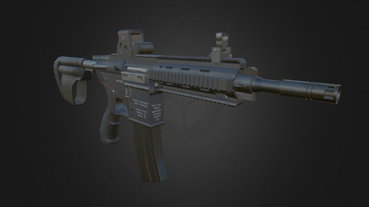 HK416 Assault Rifle 3D Model