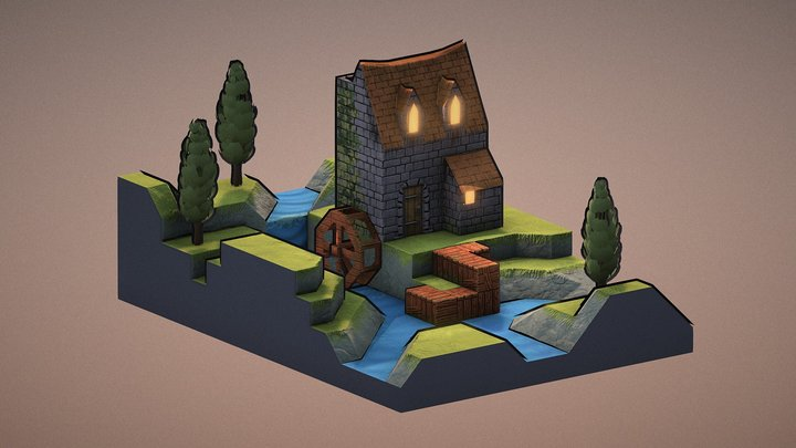 Low Poly Mill 3D Model
