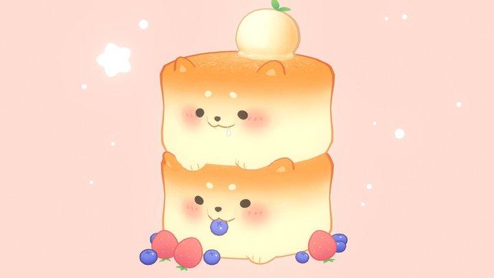 Fluffy Shiba Inu Pancakes 3D Model