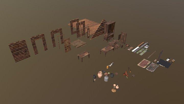 Wooden House Modulus Building Props 3D Model