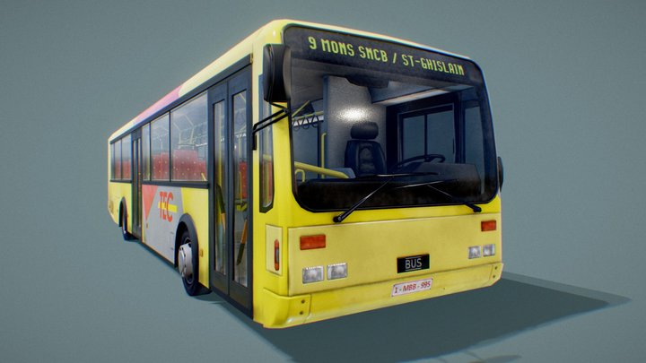 Complete Low Poly Bus - animated demo 3D Model