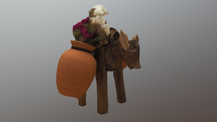Handmade Wood Donkey 3D Model