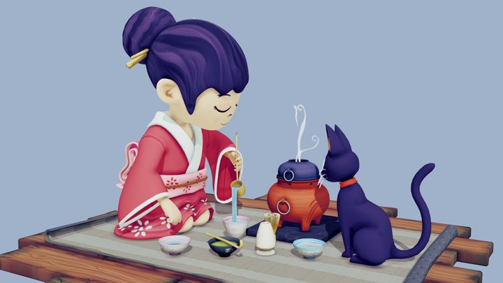 Japanese Tea Ceremony 3D Model